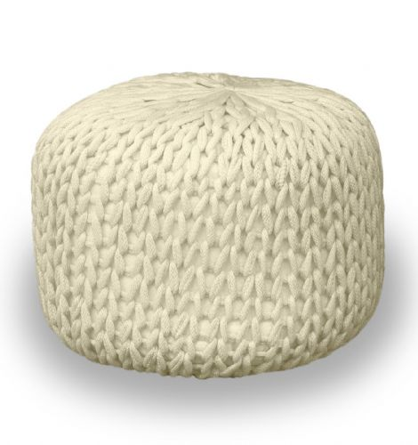 CREAM FOOT STOOL MOROCCAN CUBE OTTOMAN HANDMADE CHUNKY 100% COTTON KNITTED POUFFE